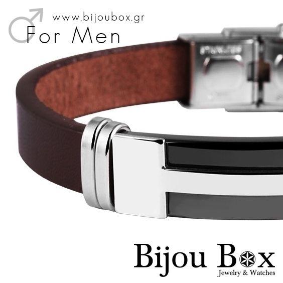 Men's genuine leather bracelet with stainless steel elements Βραχιόλι ανδρικό από γνήσιο καφέ δερμά με στοιχεία από ανοξείδωτο ατσάλι Check out now... www.bijoubox.gr #BijouBox #Men #Bracelet #Leather #Βραχιόλι #Handmade #Χειροποίητο #Greece #Ελλάδα #Greek #Κοσμήματα #MadeinGreece  #jwlr #Jewelry #Fashion