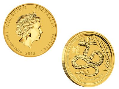 2013 Australian Year of the Snake 1/10 Ounce Gold Bullion Coin, 9999 Fine Price includes delivery and transportation insurance. Offshore bullion storage available.