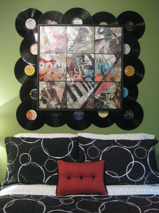 I've always wanted to incorporate Vinyl in a Rock and Roll themed bedroom. Bugg would dig this too! Could also use album art from friends.