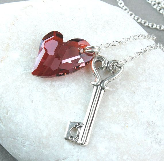 Red Heart  Necklace   Sterling Silver Love Pendant Swarovski