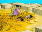 Free Bible illustrations at Free Bible images of Joshua sending two spies into Jericho and the part Rahab played in helping them. (Joshua 2:1-24)