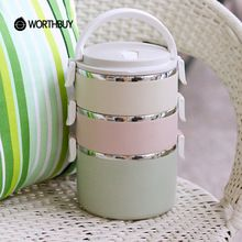 WORTHBUY Container Voor Voedsel Opslag Thermische Lunch Boxs Rvs Japanse Bento Box Draagbare Picknick Met Servies Set Tas(China (Mainland))