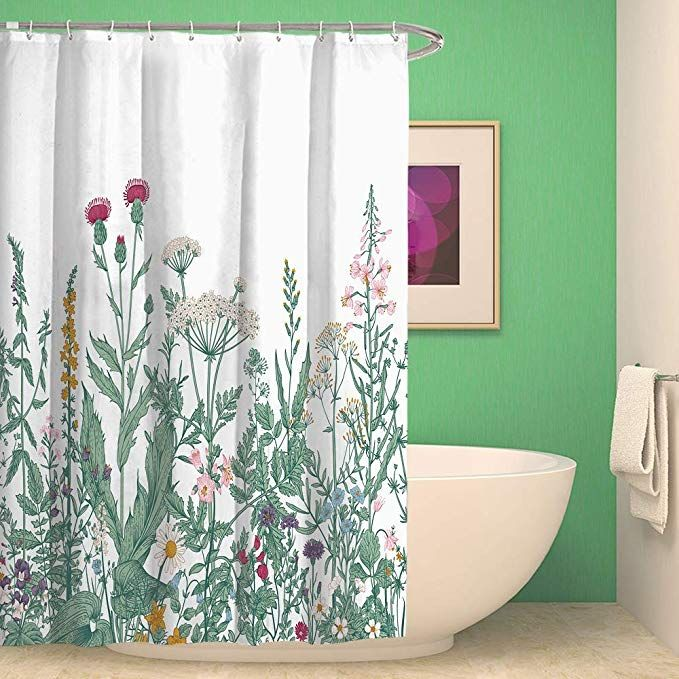 Amazon Com Qcwn Flower Shower Curtain Colorful Floral Border Herbs And Wild Flowers Botanical Engravin Flower Shower Curtain Big Bedrooms Shower Curtain Sets