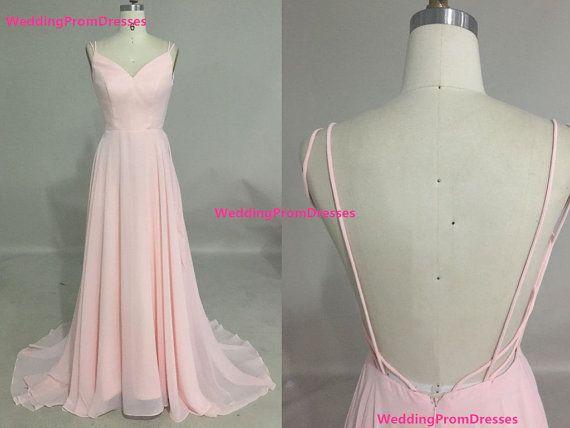 Tirantes rosa escote V gasa baile de por WeddingPromDresses en Etsy
