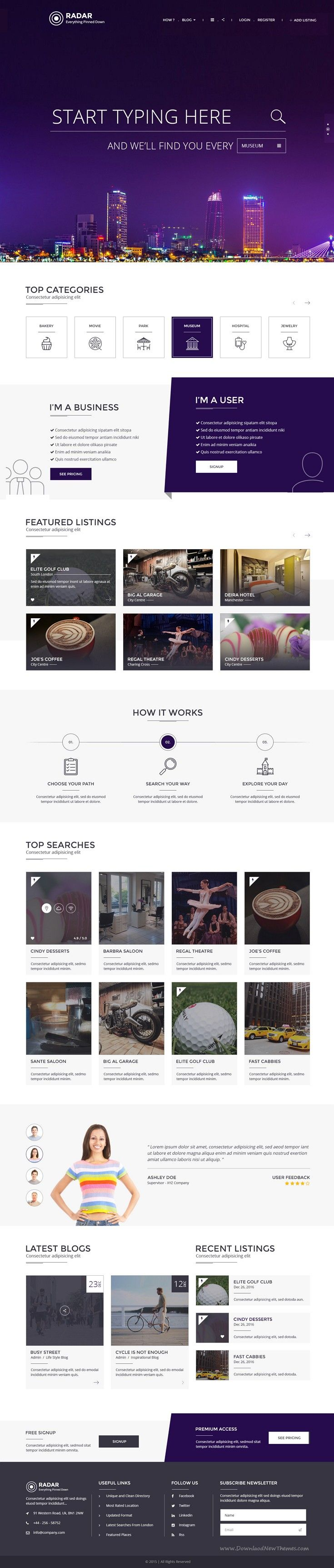 Radar is a multipurpose directory PSD template with great features and design elements required by any directory #website. It has 2 different design layouts. #listing #psdtemplate