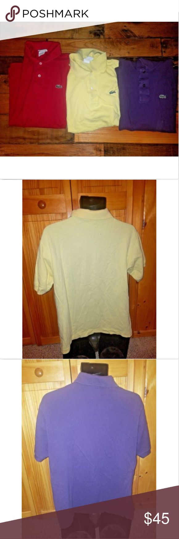 Lacoste Size 6 Lot of 3 Polos Up for sale is a set of 3 Lacoste polos. These polos come in red, yellow and purple. They are in great shape no holes, rips or stains. They are a size 6 or large in the US. Lacoste Shirts Polos