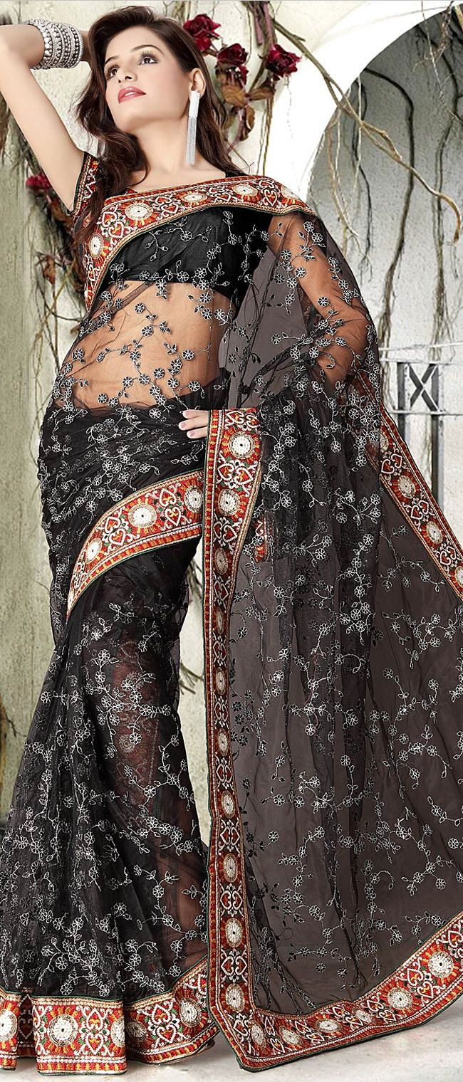 #Black Net #Saree With Blouse @ $ 96.48