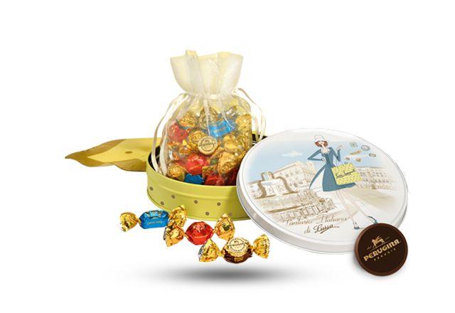 Fantasia Luisa Perugina Latta Rotonda, uno scrigno rotondo che racchiude piccoli capolavori di cioccolato