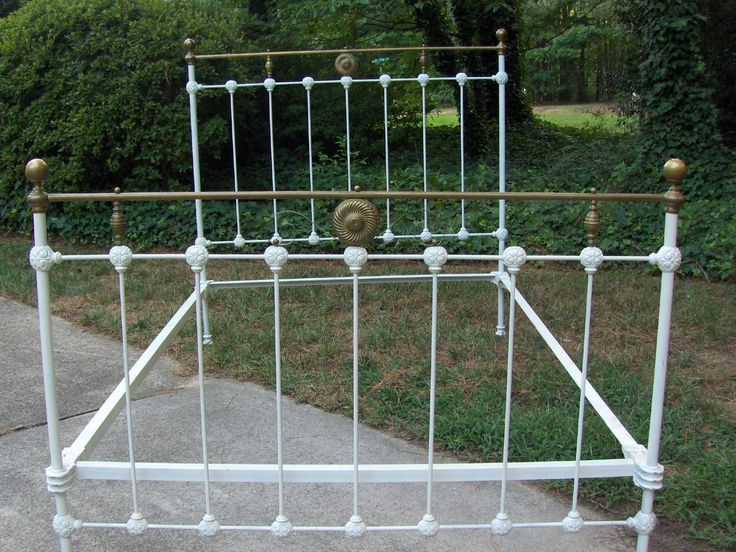 Vintage White And Golden Wrought Iron Bed Frame With High ...