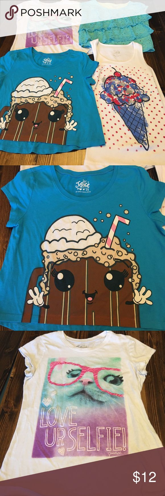 """Justice Shirt Bundle This is a bundle for 4 Justice Shirts. One is a white tank with an ice cream cone in blue, red, and silver. The second is a blue turquoise crop with an root beer float. The third is a white tee with a cat with pink glasses. The shirt reads """"Love Ur Selfie."""" The fourth is a turquoise lace with a neon green underlay. Justice Shirts & Tops Tees - Short Sleeve"""