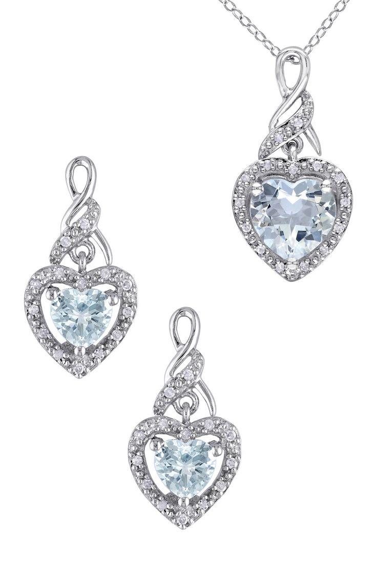 Sterling Silver Aquamarine Heart & Diamond Pendant Necklace & Earrings Set