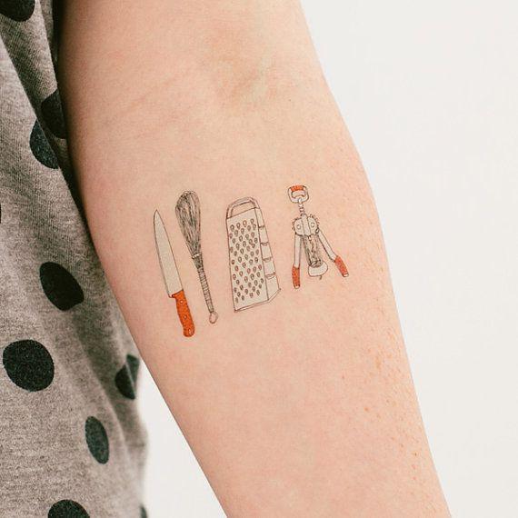 Kitchen Utensils Tattly Temporary Tattoo by JuliaRothman on Etsy