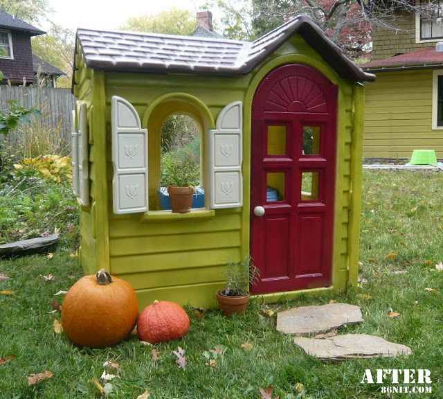 DIY plastic playhouse makeover.  Gotta remember this when I see one cheap at a garage sale!
