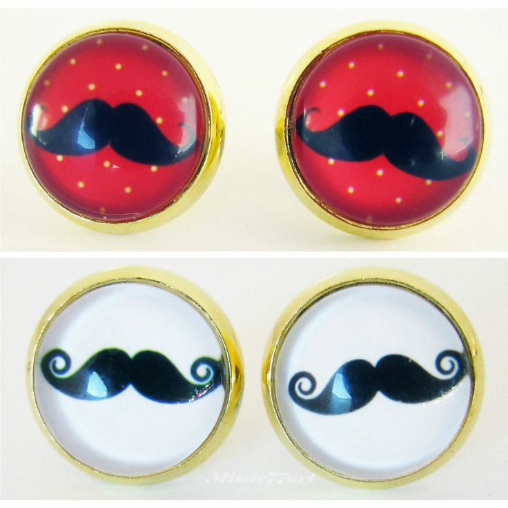 Retro Moustache Gold Plate Stud Earrings: Choice of Colours - Gift Boxed available from Missie77art Jewellery on ebay