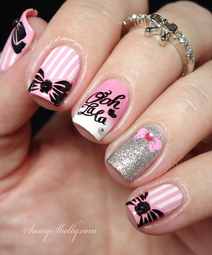 """Bows & Stripes Nail Art with Bundle Monster Around The World """"Paris"""" stamping plate / Bow midi ring from Gleamershop  