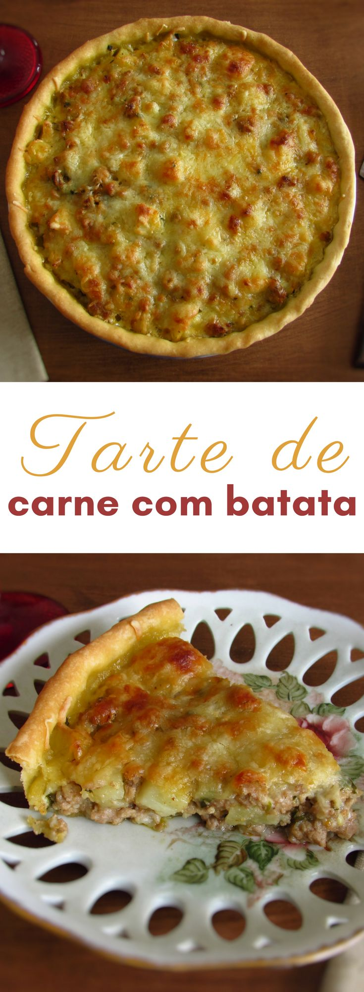 Tarte de carne com batata | Food From Portugal. Não sabe o que fazer com a carne picada que tem no frigorífico? Prepare esta deliciosa receita de tarte de carne com batata! É simples, muito saborosa e tem excelente apresentação! Bom apetite!!! #receita #tarte #carne