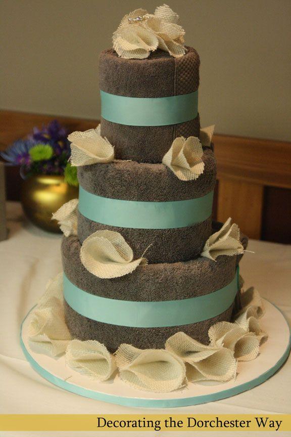 Towel Cake: Burlap Wedding Shower