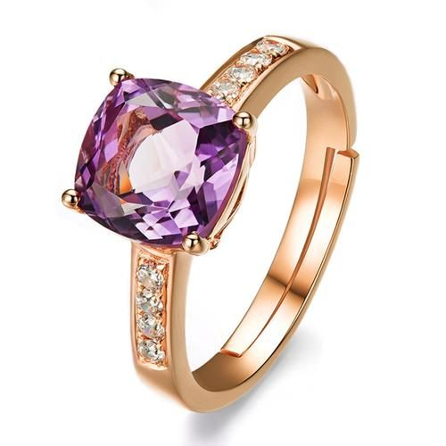 Brand Hot Fashion Rings For Women Female Anel Com Pedra Grande Casamento Gold Plated White/Purple Stones Crystal Rings Jewelry