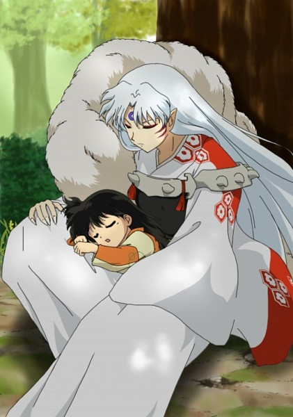 Sesshomaru with Rin. I love there story. Theres just somthing so touching about the way Rin tamed Seshomaru. As icy and distant as he is.