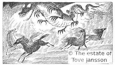 Tove Jansson's illustrations to J. R. R. Tolkien: Bilbo – en hobbits äventyr, Rabén & Sjögren, 1962, p. 221 - Smaug chasing the ponies