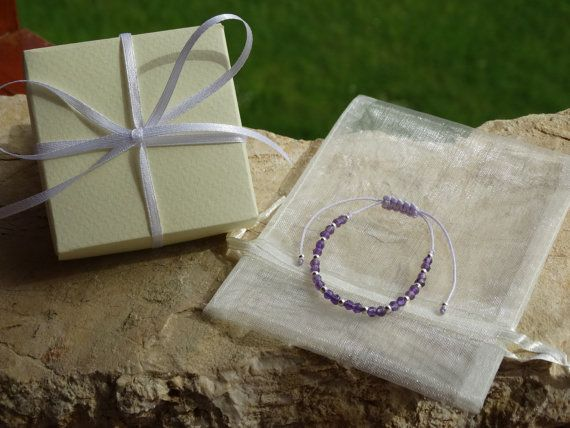 Amethyst Friendship Bracelet  February Birthstone by HouseOfHani