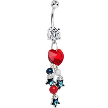 Handcrafted American Patriotic Sweetheart Dangle Belly Ring | Body Candy Body Jewelry