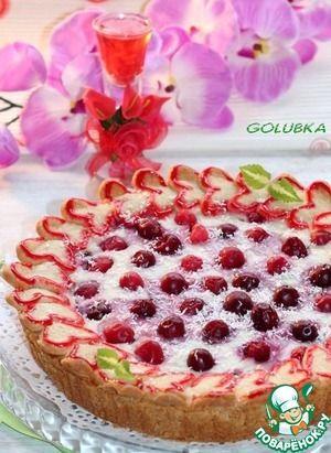 """Пирог """"Валентинки"""" с ягодно-ванильным кремом"""