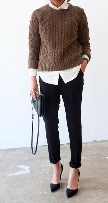 Cable knit Jumper, white shirt, black pumps classic handbag... Simple yet SO clever: