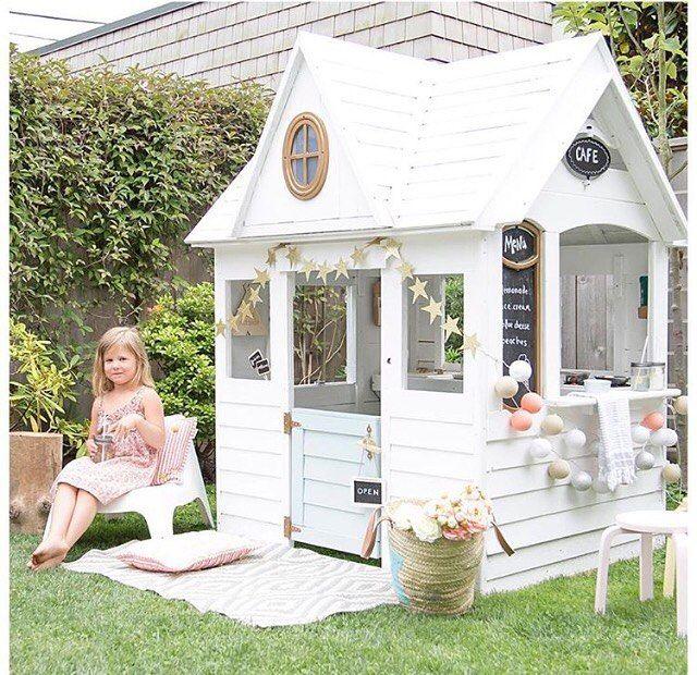 Best Cubby House EVER  Totally want one of these in my back yard! How fabulous is it??!! Regram from @winterdaisykids  #summerfun #cubbyhouse #cabin #cottage #inmyhoodkids #dural #kidstoreindural #white #childrenslifestylestore #kidsfun #childrenshaven