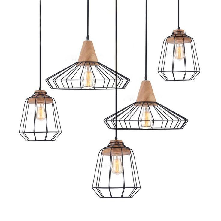 Sangkar Metal Cage Pendant Light With Wood Base. Scandinavian Styling Ceiling Light #art-deco #cage #Ceiling-Light