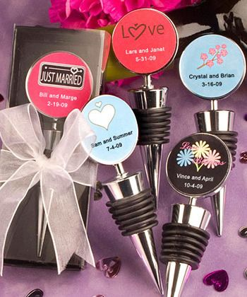 Personalized Expressions Collection wine bottle stopper favors. These are cute and have so many options.
