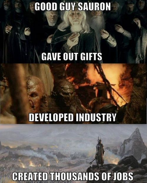 """lolshtus:  Sauron Was So Misunderstood   The Last RingbearerThe Last Ringbearer is a fucking amazing retelling of The Lord of The Rings. The basic premise is that The Lord of the Rings is pompous poetic """"history written by the victors"""" crap. The Last Ringbearer is what *really* happened.[x]"""
