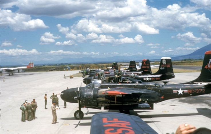 B-26s in transit in the Philippines. - From 1950-1954, the USAF loaned transport and attack aircraft to the French air force in Indochina. The USAF also sent about 200 aircraft mechanics to help maintain them. The B-26s are in transit in the Philippines.