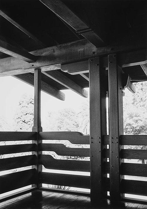 Yasuhiro Ishimoto, David B. Gamble house, northeast sleeping porch detail (Greene and Greene, architects), 1974, gelatin silver print, 10 3/16 x 7 3/16 in. © Kochi Prefecture, Ishimoto Yasuhiro Photo Center
