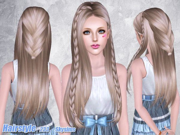 soccer hairstyles for girls : Braided hairstyle 233 by Skysims for Sims 3 - Sims Hairs - http ...