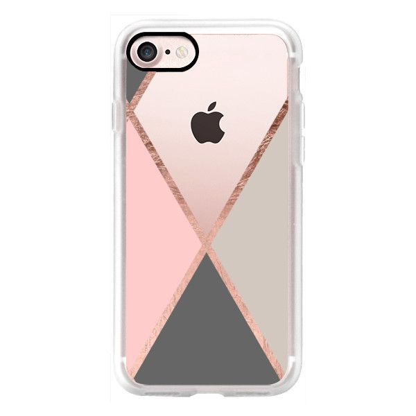 Modern pastel pink gray color block rose gold stripes by Girly Trend -... ($40) ❤ liked on Polyvore featuring accessories, tech accessories, iphone case, iphone cover case, rose gold iphone case, iphone cases, pink iphone case and apple iphone cases