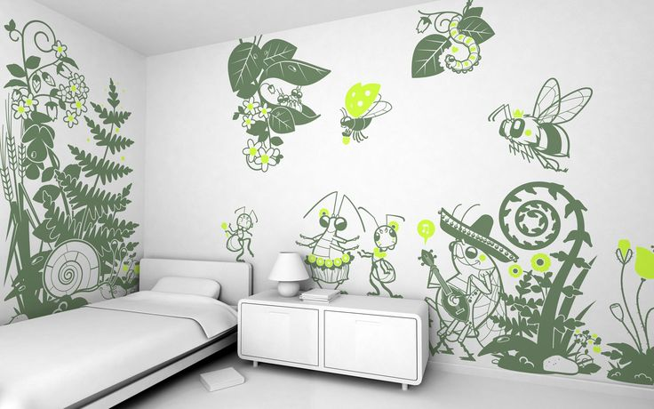 Kids Room, Giant Green Vinyl Wall Decal Sticker Decor Design Idea For White Paint Wall Scheme White Teens Room Decorations And Furniture Interior Decoration Ideas For Boy Bedroom Insect In The Party Theme Modern: Interior Wall Decoration with Kid Wall Decals for Bedroom