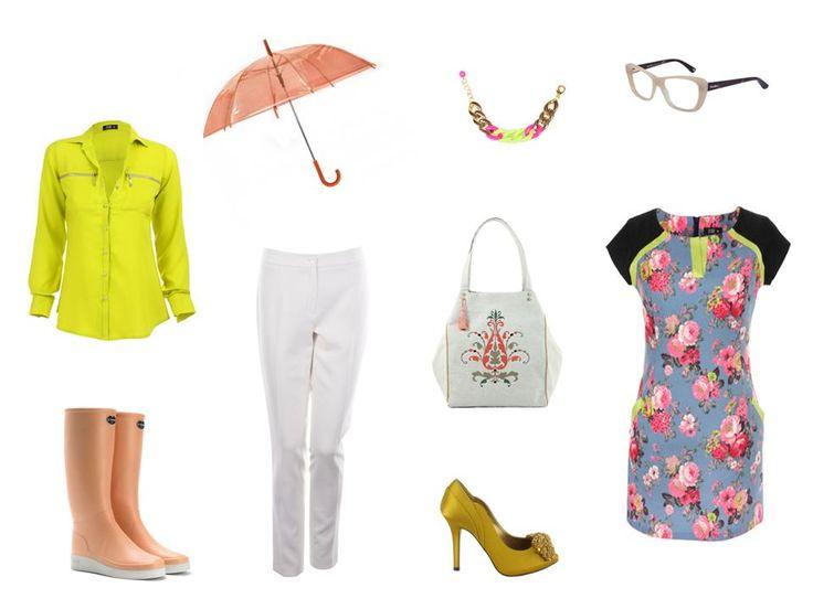 Koszula – Midori, Sukienka – Midori, Kalosze – La Chameau, Okulary – MaxMara, Torebka – DecoBazaar, Parasol – H&M, Spodnie – Bialcon, Buty – Menbur, Biżuteria – DecoBazaar