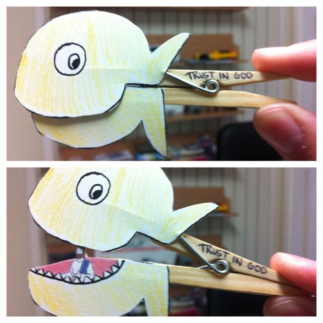Cool little peg craft to help tell the story of Jonah and the whale.