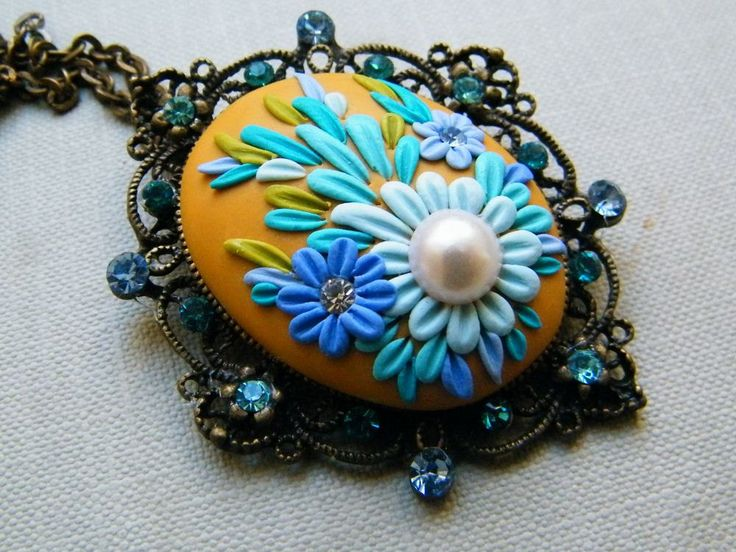 *POLYMER CLAY ~ The Queen's Ornament - Polymer Clay Pendant.