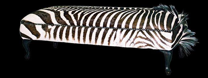 zachariah zebra skin ottoman