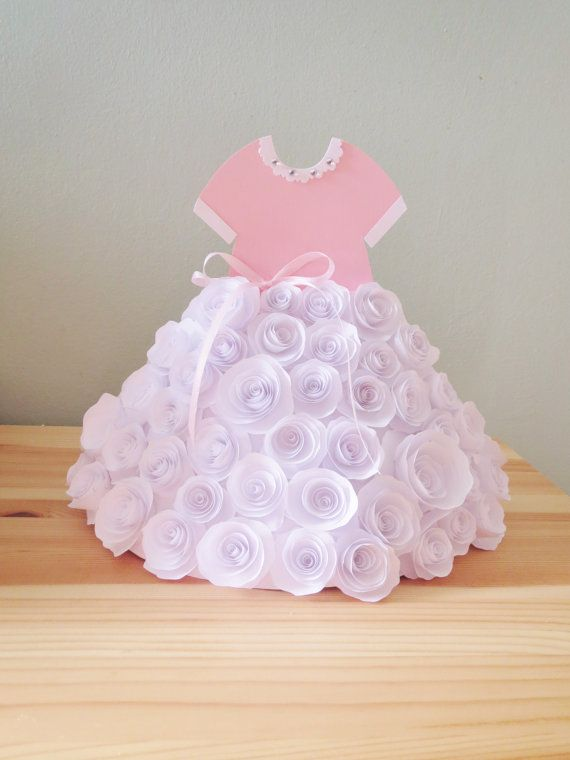 Tutu baby outfit skirt paper flower rose baby girl shower - Deco baby shower rose ...