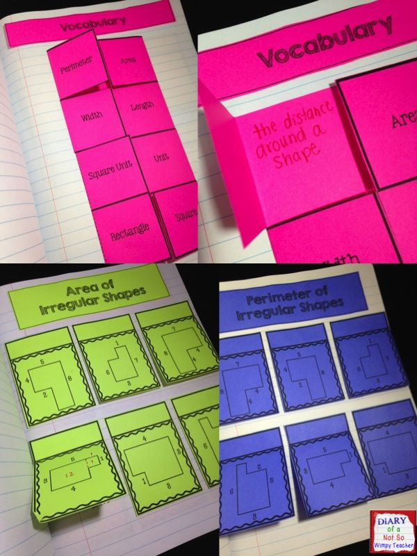 Area and Perimeter Interactive Notebook with 15 hand-on activities!