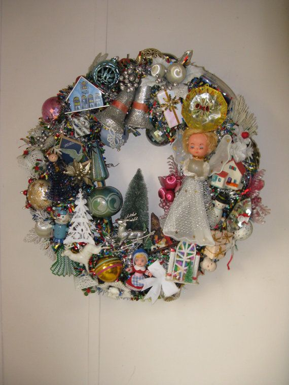 Vintage ornaments wreath.