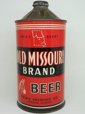 IRTP-QUART-Old Missouri Brand Cone Top Beer Can-Prima Brewing-Chicago ILLINOIS