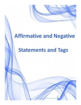 $3 Grades 3-6 Are you looking for a way to introduce statements and tags? This package contains material to teach students about affirmative and negative statements, affirmative and negative tags and questions. It also offers some work with contractions. Pin now, view later!!!