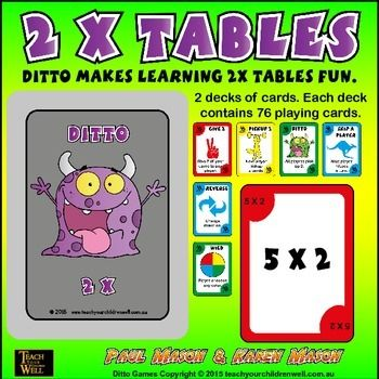 TIMES TABLES GAMES - Fun card games to learn your times tables. Better than UNO and a lot more educational.DITTO is a fun collection of times tables card games. There are TWO decks of playing cards in four bright colors for each set of times tables.Each deck of cards consists of 76 cards. (52 game cards and 24 action cards)DITTO 2X TABLES is currently FREE.We have LOTS of FREE products; however this is our favorite free game.Children love playing Ditto.
