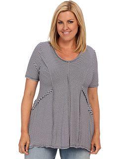 Karen Kane Plus Size Fashion Navy and White Stripes Plus Size Stripe Outside Seam Top available from 6PM #Karen_Kane #6PM #Designer #Plus #Size #Clothing #Plus_Size_Fashion #ScoreScore