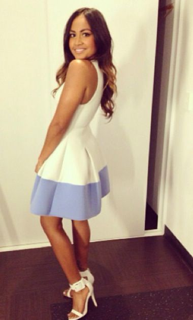 Jessica Mauboy, baby blue and white dress with gorgeous white heels