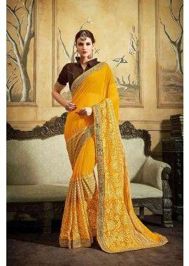 couleur jaune georgette et base mousseline avec addition avec lycra, net et de fantaisie sari tissu, - 132,00 €, #Sariindien #Sariindienmariage #Saripascher #Shopkund